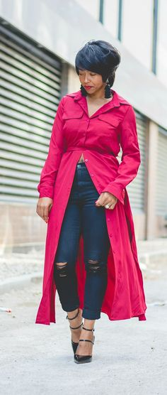 Sweenee Style, Indianapolis fashion blog, Fall 2017, fall outfit ideas, OUTFIT, OUTFIT IDEAS, OUTFIT POST, spring outfit idea, shein, wrap top, distressed denim, tassel earrings, black jeans, long top, tunic top, red top