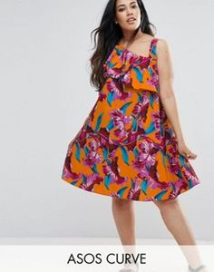 ASOS CURVE One Shoulder Ruffle Sundress in Bright Tropical Print
