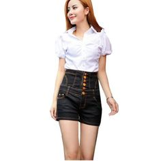 Partiss Womens Single-breasted High Waist Shorts£¬Chinese L,Black