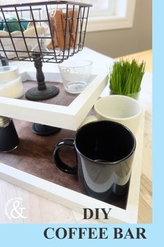 Coffee bars are a hot trend right now and they're so easy to create. See how to make this Easy DIY Coffee Bar Station Idea for your home. Chalk Spray Paint, Chalkboard Spray Paint, White Spray Paint, Black Chalkboard, Coffee Bar Home, Coffee Bars, Coffee Today, Coffee Break, Coffee Bar Station
