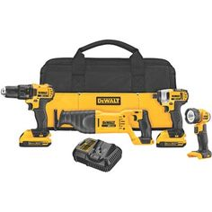 DEWALT Power Tool Combo Kit DCK420D2 20-Volt MAX* Lithium-Ion 4-Tool Cordless Combo Kit (DCK420D2)