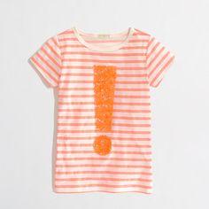 Factory+girls'+stripe+sequin+exclamation+keepsake+tee