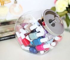 Use a cookie jar to store your nail polish.