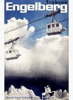 Herbert MATTER – Vintage poster – Trecking over Engelberg in Switzerland. A poster designed by Herbert Matter, the master of the photo-montage poster. Vintage Ski Posters, Retro Poster, Travel Ads, Travel And Tourism, Evian Les Bains, Herbert Matter, Tourism Poster, Air France, Photomontage