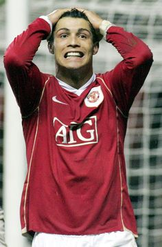 Cristiano Ronaldo of Manchester United looks disappionted after an. Cristiano Ronaldo Style, Cristiano Ronaldo Manchester, Cristiano Ronaldo 7, Manchester England, Manchester United, Fifa Covers, Female Volleyball Players, Sir Alex Ferguson, Football Pictures