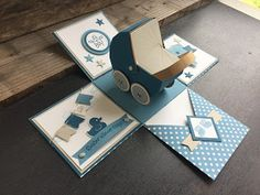 Expolsionsbox Baby - Crafts for Kids Bridal Shower Scrapbook, Baby Scrapbook, Baby Shower Crafts, Baby Crafts, Diy Crafts For Gifts, Crafts For Kids, Exploding Box Card, Pop Up Box Cards, Marianne Design