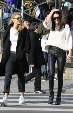 Kendall Jenner and Gigi Hadid on a Paris outing at Fashion Week.