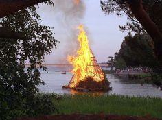 """The summer solstice was called Ukon juhla (""""Ukko's celebration"""") after the Finnish god Ukko. Bonfires are very common and are burned at lakesides and by the sea. Often branches from birch trees (koivu) are placed on both side of the front door to welcome visitors. In folk magic, midsummer was a very potent night and the time for many small rituals, mostly for young maidens seeking suitors and fertility. Will-o'-the-wisps were believed to appear at midsummer night."""