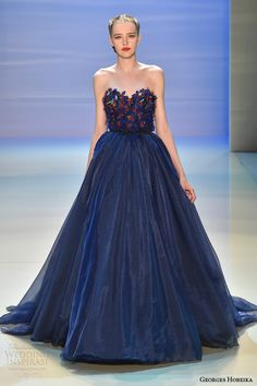 georges hobeika fall 2014 2015 couture strapless ball gown blue
