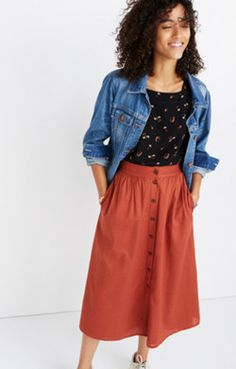 Palisade Button-Front Midi Skirt