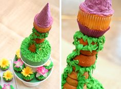 Disney Tangled - Rapunzel Tower Cupcakes Birthday :) Can't wait to make this for my daughter!