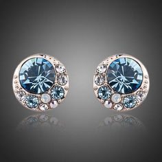 Buy Gifts Online - Beautiful stud earrings, Rose Gold plated with blue themed Austrian Crystal detail. Rose Gold Color, Round Earrings, Austrian Crystal, Vintage Earrings, Rose Gold Plates, Online Shopping, Jewelry Accessories, Fine Jewelry, Fashion Jewelry