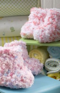 Cotton Candy baby booties. Perfect for baby showers.