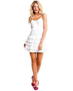 Betsey Johnson White Ruffle Slip Dress  $49.90