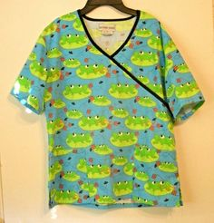 Frogs Women's Scrub Top Southern Scrubs Blue Green Lily pads Sz XS Extra Small #SouthernScrubs