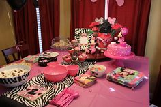 Minnie Mouse and Zebra Print Birthday Party Set Up - very cute!
