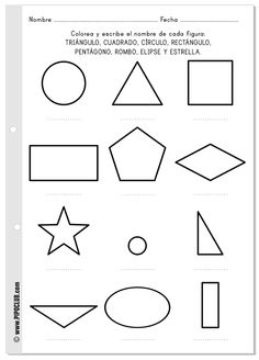 Las formas - ficha gratis para colorear y escribir sus nombres