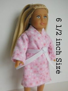 Doll Clothes-fit Mini American Girl Boy My Life-Flannel-Pajamas-White Pink Dots