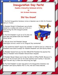 Fun facts about the history of Inauguration Day with a couple of extension activities for students to do.Check out my web quest on Inauguration Day.  the oath of office, a big parade and evening balls, Inauguration Day is a very busy day for the incoming President!