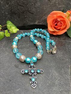 cross necklace, Made by Arja Hannele Turquoise Bracelet, Bracelets, Jewelry, Fashion, Moda, Jewlery, Jewerly, Fashion Styles, Schmuck