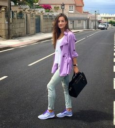 Your Outfit Today » Purple Trench & Sneakers, August 29 2014