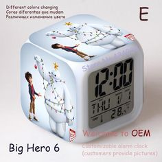 Big hero 6 LED 7 Colors Change Digital Alarm Clock Thermometer Night Colorful Glowing toy - http://www.aliexpress.com/item/Big-hero-6-LED-7-Colors-Change-Digital-Alarm-Clock-Thermometer-Night-Colorful-Glowing-toy/32295652844.html