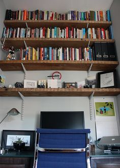 industrial shelves above desk - Google Search