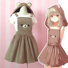 Kawaii Rilakkuma Jumpsuit Dress Cute Bear Embroidery Lolita Overall Skirt & Hat #New #strapskirt #Casual