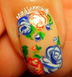 Girly Roses Nails for Spring! Video Tutorial http://youtu.be/z9Pa9iXgkho  #nails #nail art #roses