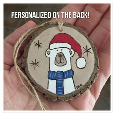 Personalized wood Christmas ornament polar bear custom