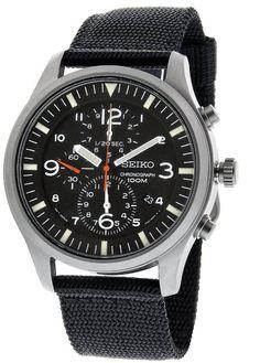 Seiko Men's SNDA57 Chronograph Black Dial Black Nylon Band Watch