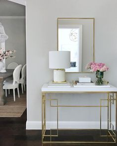 Entryway decor, entryway table, entry table, gold console table, classic gray paint, restoration hardware chairs, gold mirror, Kate spade lamp