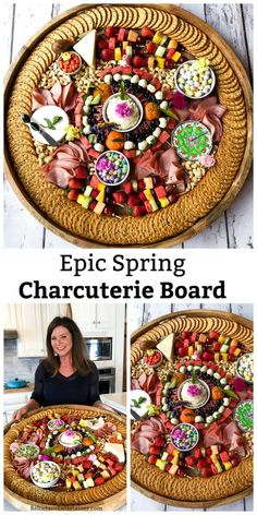 An Epic Spring Charcuterie Board filled with cured meats, cheese, fruit kebabs, and spring blossoms! Arrange on an epic board, with favorite pastel colors! Charcuterie And Cheese Board, Charcuterie Platter, Cheese Boards, Charcuterie Lunch, Charcuterie Ideas, Appetizer Dips, Appetizers For Party, Appetizer Recipes, Meat Appetizers