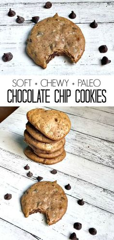 Soft, Chewy + Paleo Chocolate Chip Cookies #glutenfree