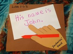 Luke 1. John. What did Zacharias and Elisabeth end up naming their precious baby boy? Did Zacharias ever talk again? Easy, inexpensive, and unique children's Bible lessons. Free to all! Take a look on the blog and share!