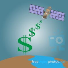 Satellite Transmit Signal From Space  To  Earth Stock Image