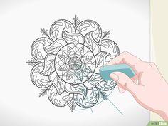 3 formas de dibujar mandalas - wikiHow Mandala Art Lesson, Mandala Drawing, Dot Painting, Silk Painting, Doodle Art Designs, Mandala Coloring, Colouring, Zentangle Patterns, Linocut Prints