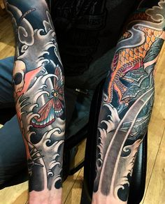 "2,858 Likes, 8 Comments - Japanese Ink (@japanese.ink) on Instagram: ""Japanese tattoo sleeves by @pierslee. #japaneseink #japanesetattoo #irezumi #tebori #colortattoo…"""