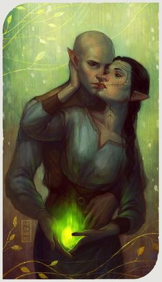 """""""I love you (my) heart"""" said Solas in elven to Lavellan, the Elven Inquisitor. Best romance of Dragon Age Inquisition (here there be spoilers for the game) Dragon Age Solas, Dragon Age 2, Dragon Age Origins, Dragon Age Inquisition, Dragon Age Tarot Cards, Dragon Age Romance, Fantasy Couples, Dragon Age Series, Dragon Age Games"""