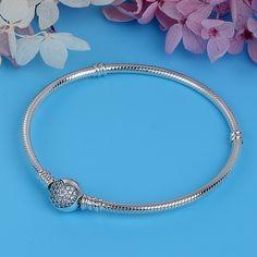 Luxe femmes Sterling argent mousseux Zircons Charm Fit À faire soi-même Bracelet Breloque//Bangle