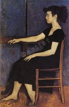 Portrait of Fani by Yiannis Moralis. Portraits, Portrait Art, Greek Paintings, National Gallery, Art Through The Ages, Greek Art, Art Plastique, Figure Painting, Painting People