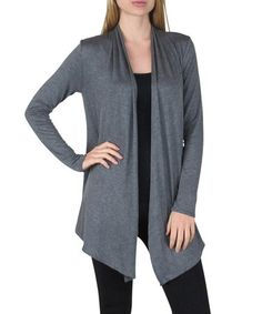 Look what I found on #zulily! Charcoal Solid Open Cardigan #zulilyfinds