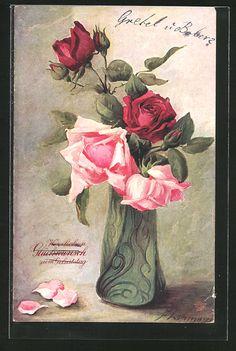 old postcard: AK Rosen in einer Vase zum Geburtstag
