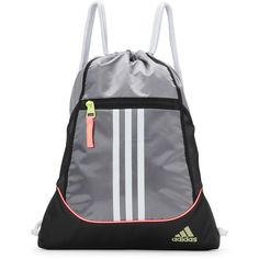 028e15fc87 Adidas Silver   Black Alliance 2 Sack Pack (39 ILS) ❤ liked on Polyvore  featuring bags