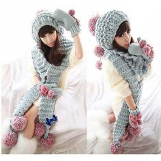 Women winter beanies hat set Knitted crochet beanies+scarf+glove Twist Lady's Delicate Clothing Accessory Christmas Gift