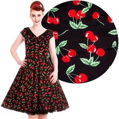 Image of Hell Bunny Cherry Pop Dress Rockabilly Pin Up Vintage 50s Retro Cherries