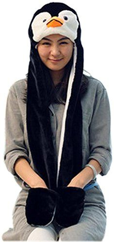 20340fa9a0e Bettyhome Novelty Animal HAT Cosplay CAP Unisex Fit Adult Children Soft  Warm Headwraps Headwear with Mittens penguin     You can find more details  by ...