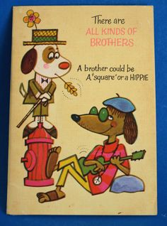 Happy Birthday Brother Card - Vintage Cartoon 60s Hound Dog Funny Novelty Greeting Cards - Unused! by FunkyKoala on Etsy