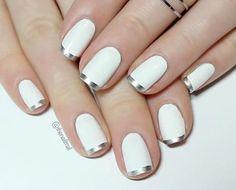 Nov 2015 - Silver & White French tip manicure nail art Silver Tip Nails, Gold Nails, White Nails, My Nails, White Manicure, Silver French Manicure, Nail Art Vernis, Nail Manicure, Nail Polish