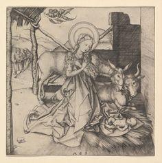 The Nativity by Martin Schongauer via Drawings and Prints    Medium: Engraving  Harris Brisbane Dick Fund, 1937 Metropolitan Museum of Art, New York, NY